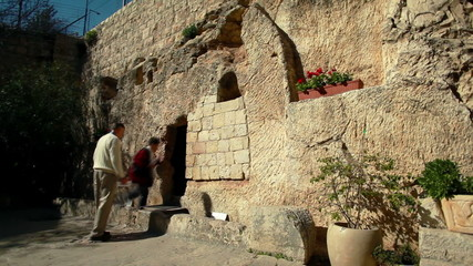 Stock Video Footage of tourists at the Garden Tomb in Israel.