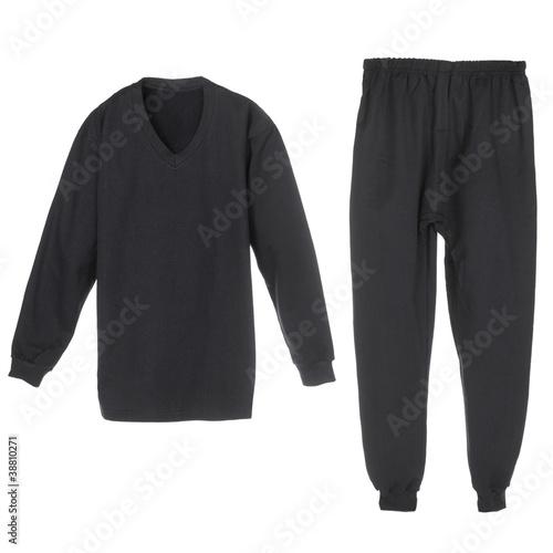 set of warm winter black underwear for men - 38810271