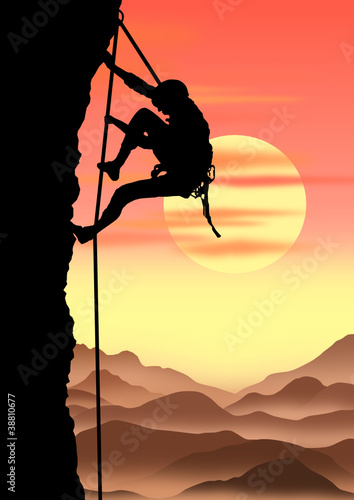 climber on sunset  background. vector file