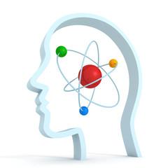 atom molecule science symbol brain human head