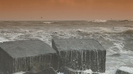 Storm Waves Smashing Against Breakwaters