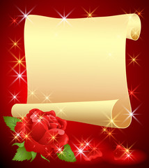 Rolled parchment and rose