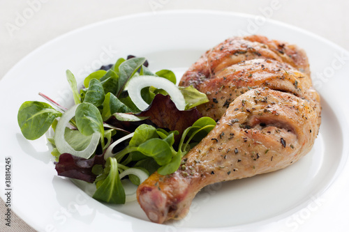Roast chicken with salad
