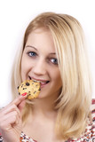 Young women eating cookie
