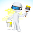 3d Man with Paint Bucket and Brush