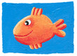 Cute orange fish on the blue background