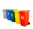 Colorful recycle bins with green wording concept