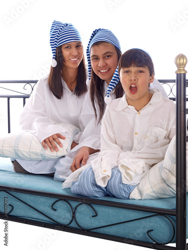 kids in nightgowns and sleeping caps