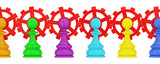 Colorful pawns pawns merged with red gears. poster
