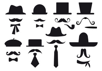 mustache and hats, vector set