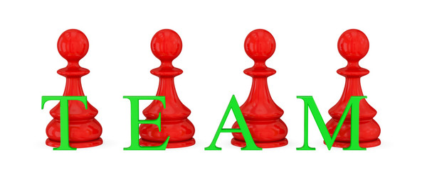 Red pawns and green word TEAM.