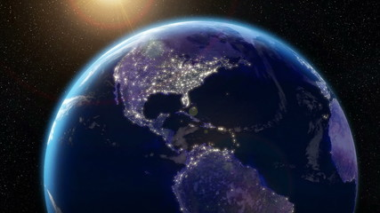 Earth Orbit Night - City Lights from Space (USA)