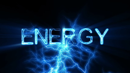 ENERGY Word Text Animation with Electrical Lightning