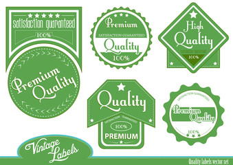Green premium, high quality labels | stickers in vintage style.