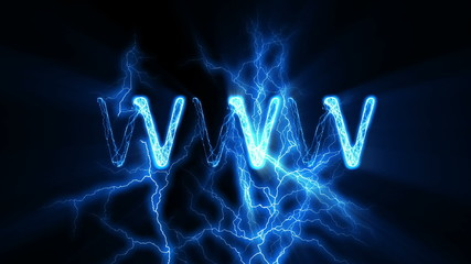 WWW Word Text Animation with Electrical Lightning