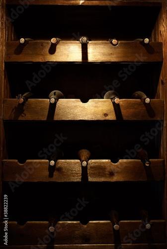 Fototapeta Stored wine bottles.