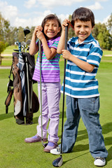 Kids at a golf field