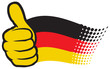 Germany flag. Hand showing thumbs up.