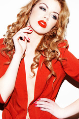 Glamourous Woman In Red