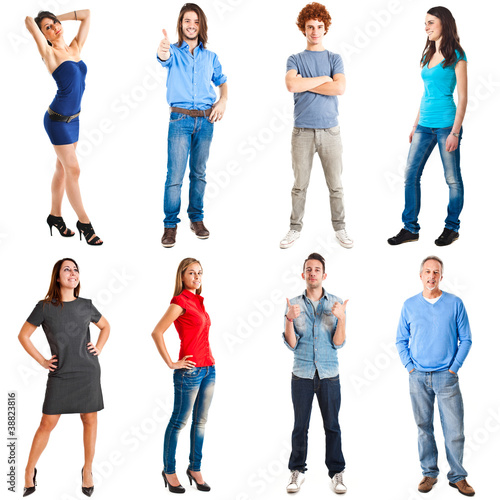 Collection of casual dressed people