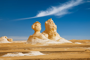 The limestone formation rocks looks like two sphinx  in the Whit