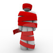 Man Wrapped in Red Tape Hostage or Paralyzed No Movement
