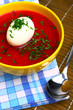 Traditional east european red beet soup borsch