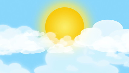 Cartoon Sun, Clouds and Blue Sky