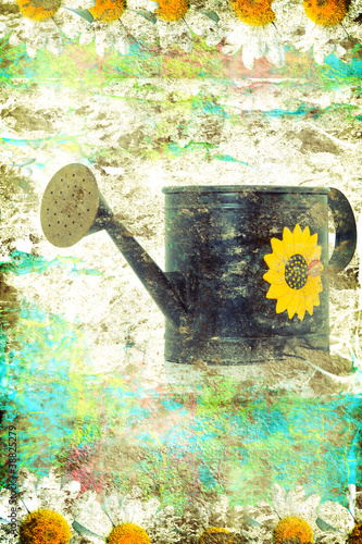 Aged metallic watering can background