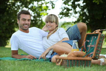 Couple eating a picnic
