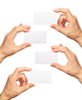 Business cards in hands
