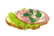 tasty ham sandwich isolated on white