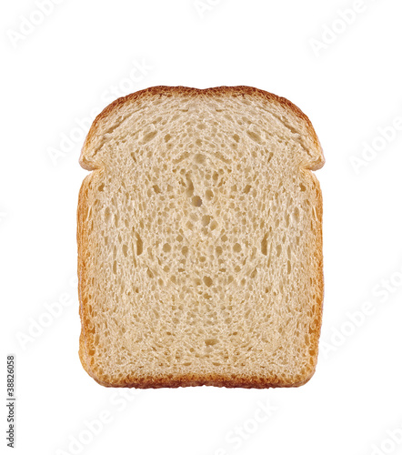 one slice of wheat bread isolated on white