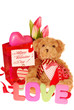 teddy bear with valentine`s gifts