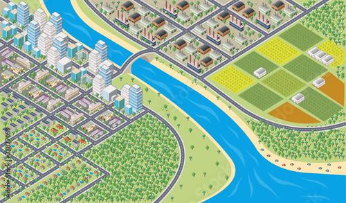 Foto op Plexiglas Op straat Colorful cartoon isometric city