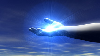 Hand Opening with Light Rays