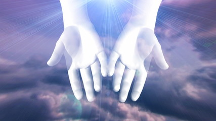 Hands Opening with Light Rays