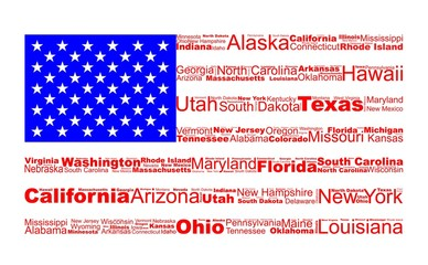 USA flag drawn with united states names