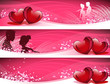 Love vector backgrounds set