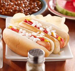 meal with hotdogs and toppings