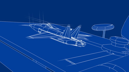 Jet Blueprint on Drafting Table