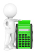 Calculate. 3d little human character with a Green Calculator