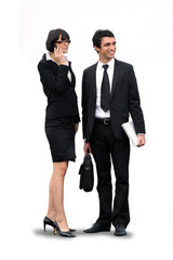 businesswoman and businessman waiting for a client