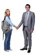 student and teacher handshake