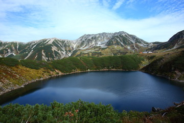 Autumn of Mt.Tateyama and pond in japan