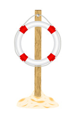 Life buoy with wooden stand