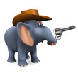 3d Elephant Cowboy shoots to the side