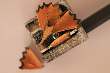 Pencil sharpener and shavings