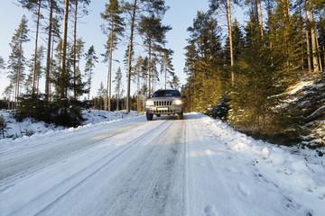 suv, car, in snowy winter landscape, sweden