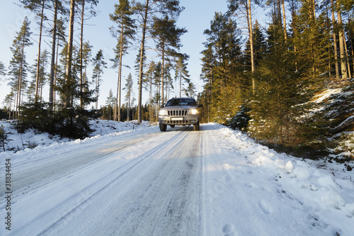 suv, car, in snowy winter landscape, sweden